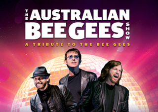 The Australian Bee Gees stand prominently in front of a giant disco ball emitting purple and yellow-tint light. The 'Australian Bee Gees' logo is above the band and the disco ball in white.