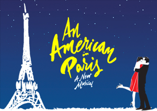 Illustrated American In Paris poster with the show logo in Yellow. The stars of the show, a young couple, are to the right of the image, hugging.