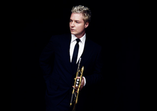 Chris Botti Standing center on black background