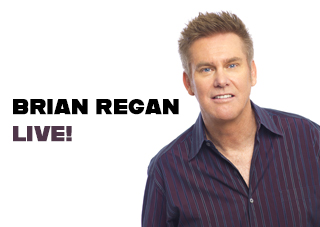 "Brian Regan Stands on a white background next to text reading ""Brian Regan Live!"""
