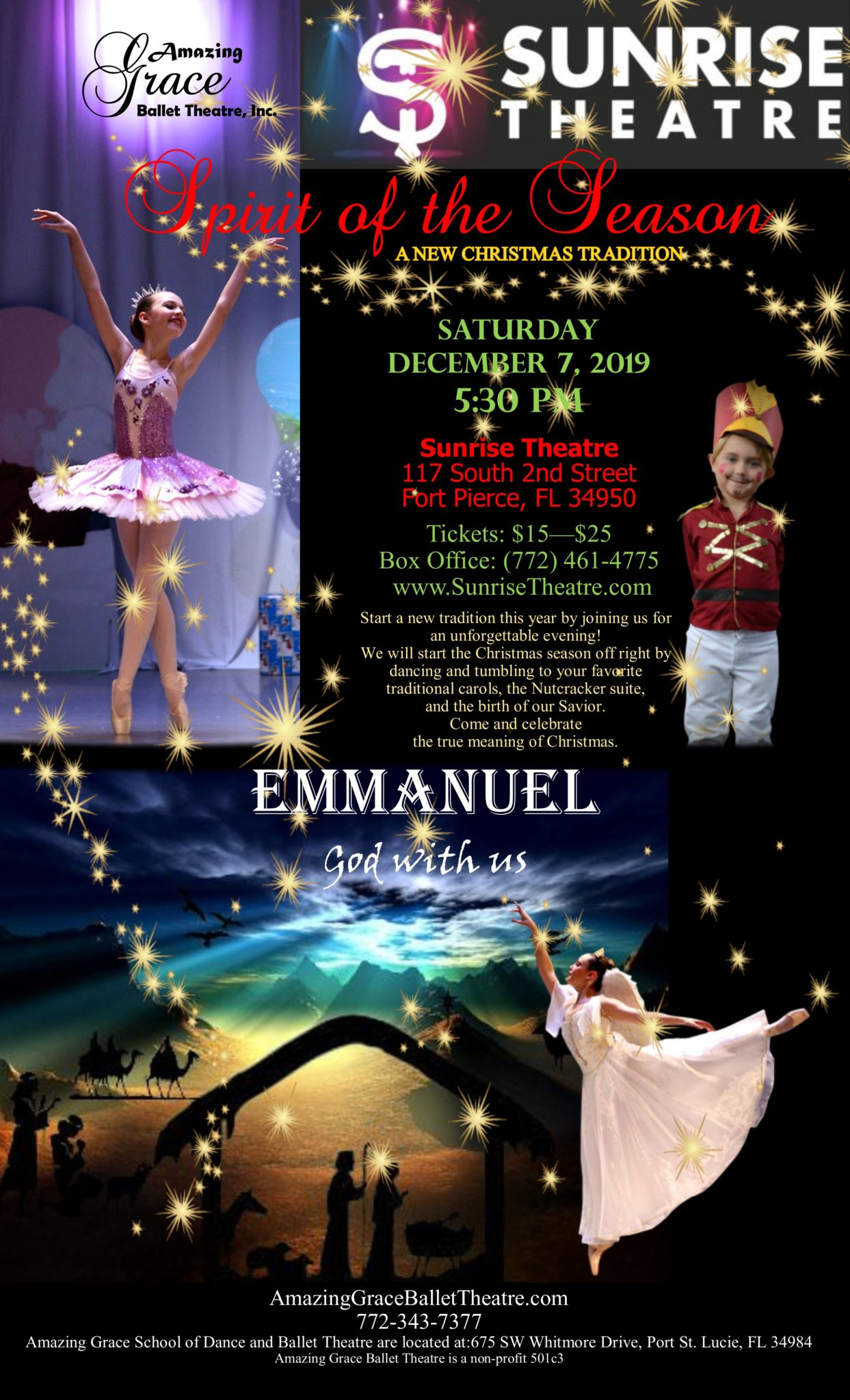 Amazing Grace Ballet Theatre, Inc. & The Students of Amazing Grace School of Dance Present:   Spirit of the Season & Emmanuel ~ God with Us!